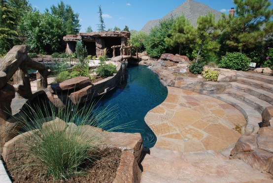 Design a free forming swimming pool in Tulsa, Oklahoma
