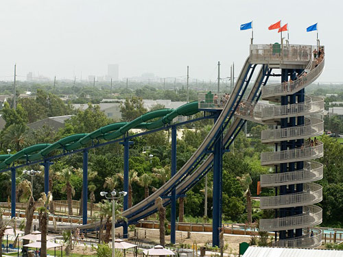 A large water park slide